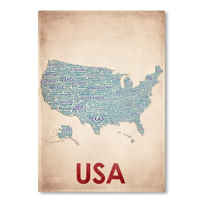 Americanflat USA Typography Wrapped on Canvas