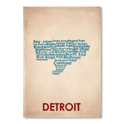 Americanflat Detroit Typography Wrapped on Canvas