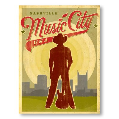 Americanflat Music City Red USA by Anderson Design Group Vintage Advertisement Wrapped on Canvas