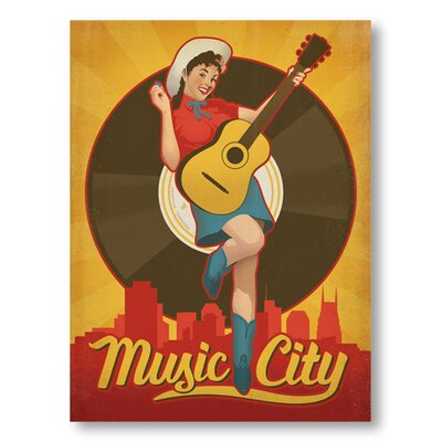 Americanflat Pinup Music City Vintage Advertisement Wrapped on Canvas