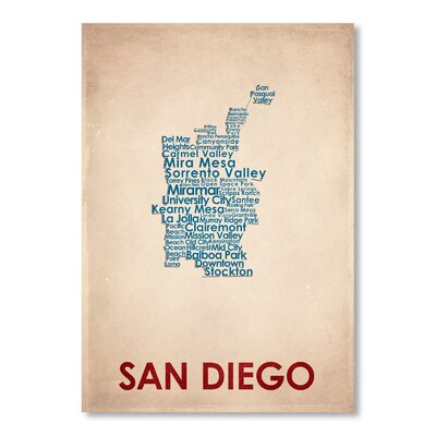 Americanflat San Diego Typography Wrapped on Canvas