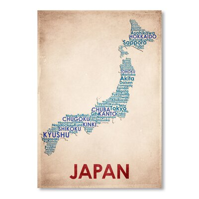 Americanflat Japan Typography Wrapped on Canvas