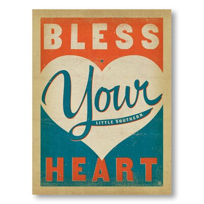 Americanflat Bless Your Heart by Anderson Typography Wrapped on Canvas