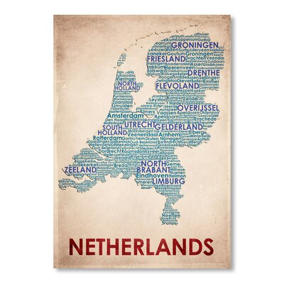 Americanflat Netherlands Typography Wrapped on Canvas