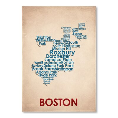 Americanflat Boston Typographyt Wrapped on Canvas