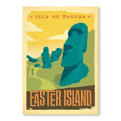Americanflat Easter Island by Anderson Design Group Vintage Advertisement Wrapped on Canvas