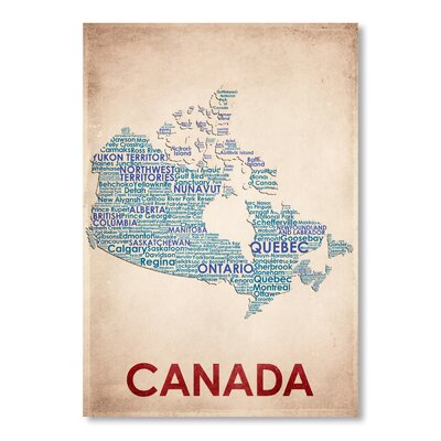 Americanflat Canada Typography Wrapped on Canvas