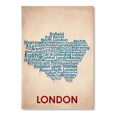 Americanflat London Typography Wrapped on Canvas