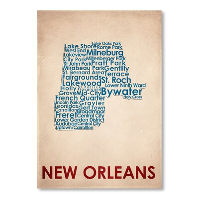 Americanflat New Orleans Typography Wrapped on Canvas