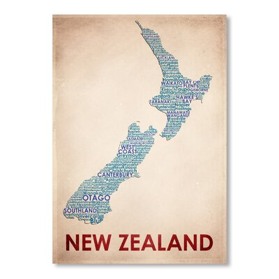 Americanflat New Zealand Typography Wrapped on Canvas