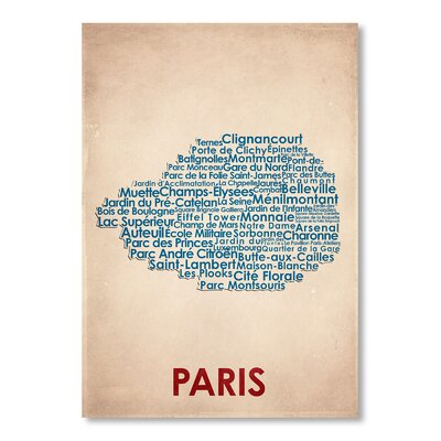 Americanflat Paris Typography Wrapped on Canvas