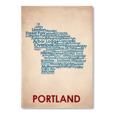 Americanflat Portland Typography Wrapped on Canvas