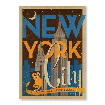 Americanflat NYC Night Owl by Anderson Vintage Advertisement Wrapped on Canvas