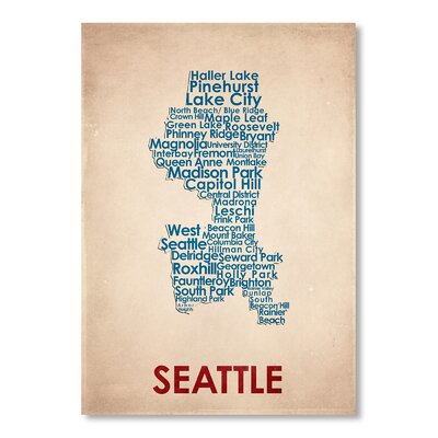 Americanflat Seattle Typography Wrapped on Canvas