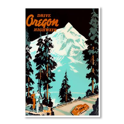 Americanflat Oregon by Chad Hyde Vintage Advertisement Wrapped on Canvas