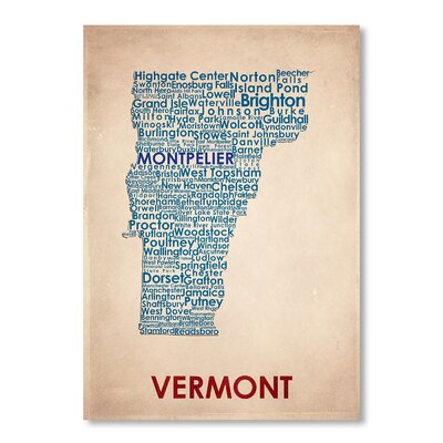 Americanflat Vermont Typography Wrapped on Canvas