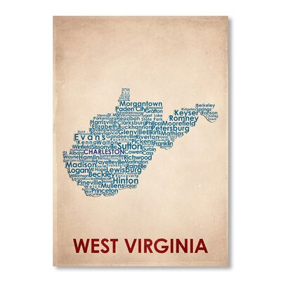 Americanflat West Virginia Typography Wrapped on Canvas