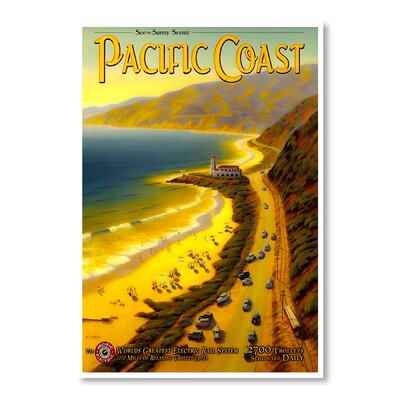 Americanflat Pacific Coast by Chad Hyde Vintage Advertisement Wrapped on Canvas
