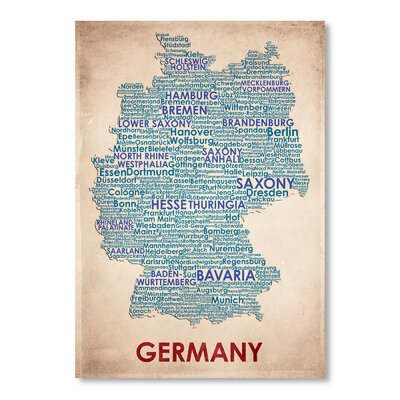 Americanflat Germany Typography Wrapped on Canvas