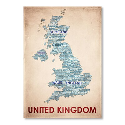Americanflat United Kingdom Typography Wrapped on Canvas