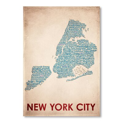 Americanflat New York City Typography Wrapped on Canvas