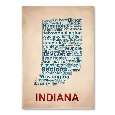 Americanflat Indiana Typography Wrapped on Canvas