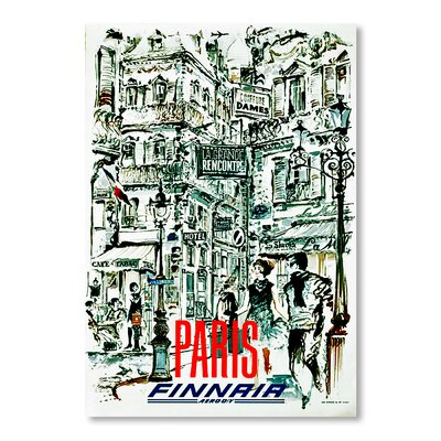 Americanflat Paris Finnair by Chad Hyde Vintage Advertisement Wrapped on Canvas