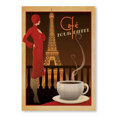 Americanflat Cafe Tour Eiffel by Anderson Vintage Advertisement Wrapped on Canvas