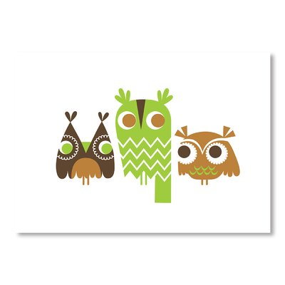 Americanflat Owls by Jeanie Nelson Graphic Art Wrapped on Canvas