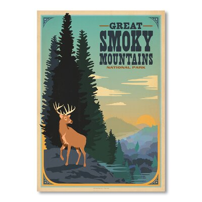 Americanflat Great Smokey Vintage Advertisement Wrapped on Canvas