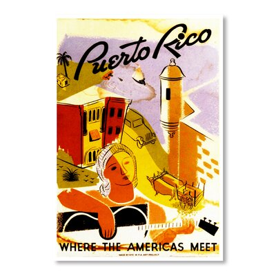 Americanflat Puerto Rico by Chad Hyde Vintage Advertisement Wrapped on Canvas