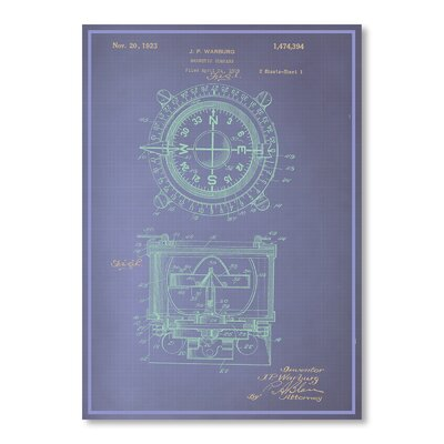 Americanflat Magnetic Compass Blue Print Graphic Art on Canvas