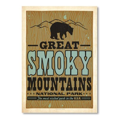 Americanflat Smoky Mountains by Anderson Design Group Vintage Advertisement Wrapped on Canvas