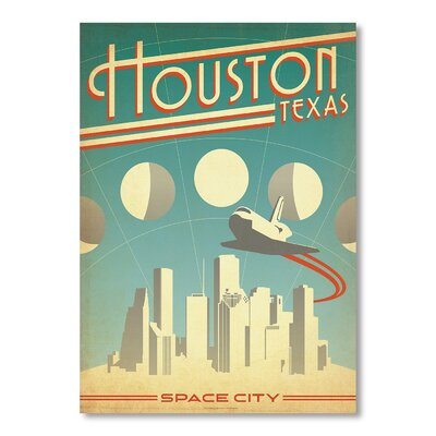 Americanflat Houston by Anderson design Group Vintage Advertisement Wrapped on Canvas