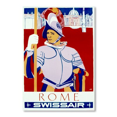 Americanflat Rome Swiss Air by Chad Hyde Vintage Advertisement Wrapped on Canvas
