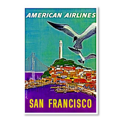 Americanflat San Francisco American Airlines by Chad Hyde Vintage Advertisement Wrapped on Canvas