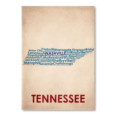 Americanflat Tennessee Typography Wrapped on Canvas