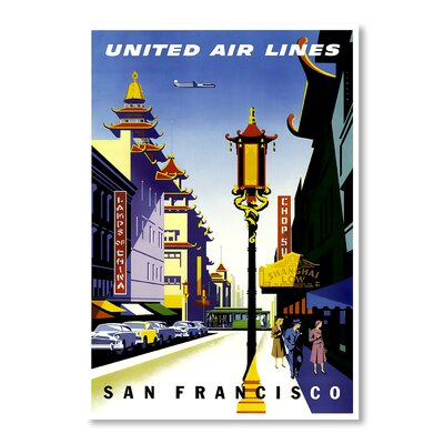 Americanflat San Francisco United Airlines by Chad Hyde Vintage Advertisement Wrapped on Canvas