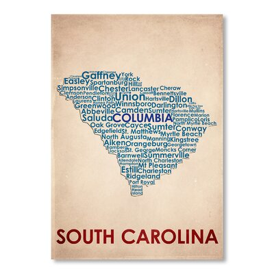 Americanflat South Carolina Typography Wrapped on Canvas