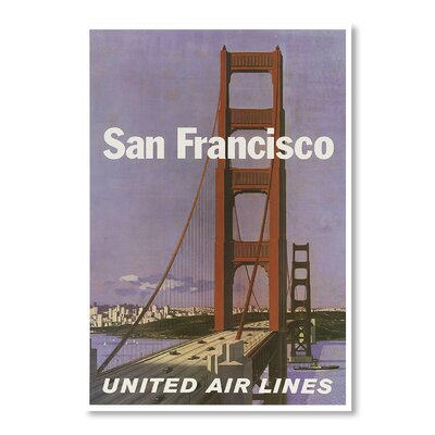 Americanflat San Francisco United Airlines by Chad Hyde Vintage Advertisement on Canvas