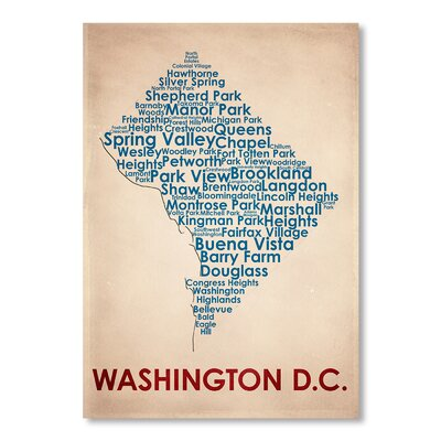 Americanflat Washington DC Typography Wrapped on Canvas