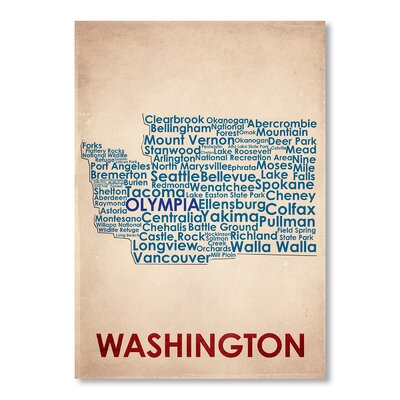 Americanflat Washington Typography Wrapped on Canvas