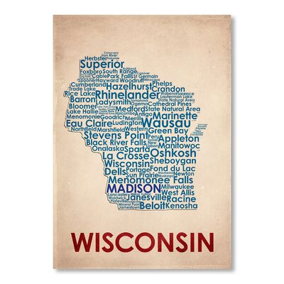 Americanflat Wisconsin Typography Wrapped on Canvas