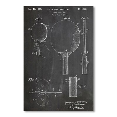 Americanflat Table Tennis Racket by House of Borders Graphic Art in Grey
