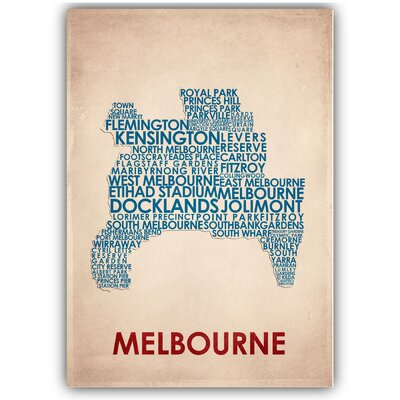Americanflat Melbourne Typography Wrapped on Canvas