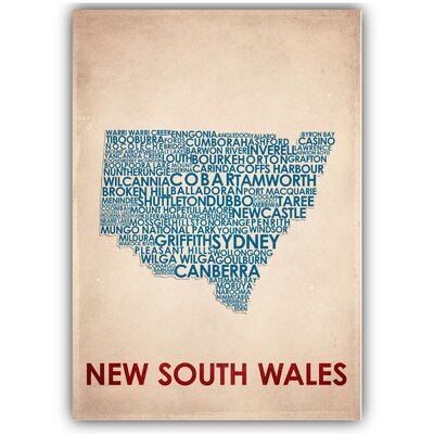 Americanflat New South Wales Typography Wrapped on Canvas