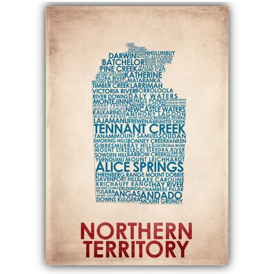 Americanflat Northern Territory Typography Wrapped on Canvas