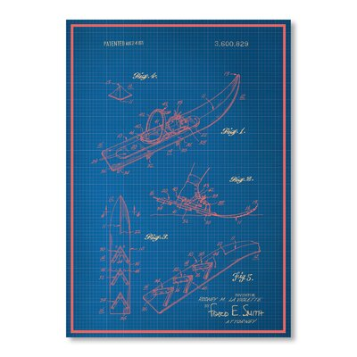 Americanflat Vintage Snowshoe Graphic Art in Blue