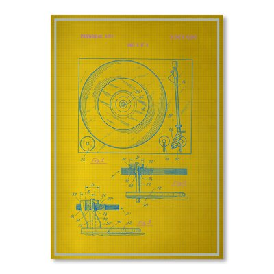Americanflat Record Player Graphic Art in Yellow