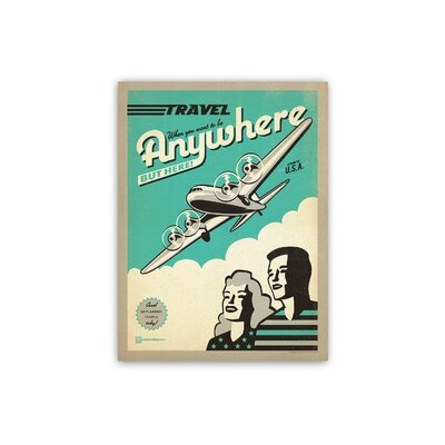 Americanflat Travel Plane by Anderson Design Group Vintage Advertisement Wrapped on Canvas